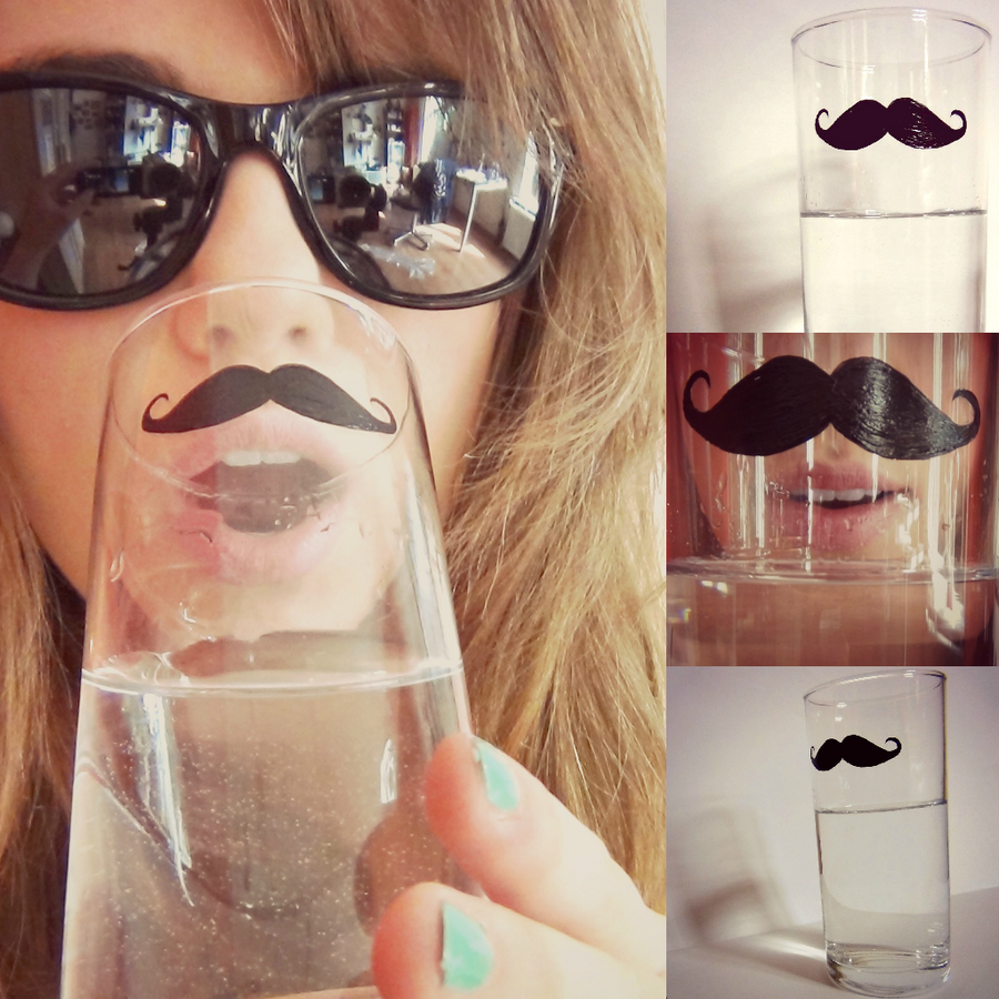 Mustache glass by MissWatermellon