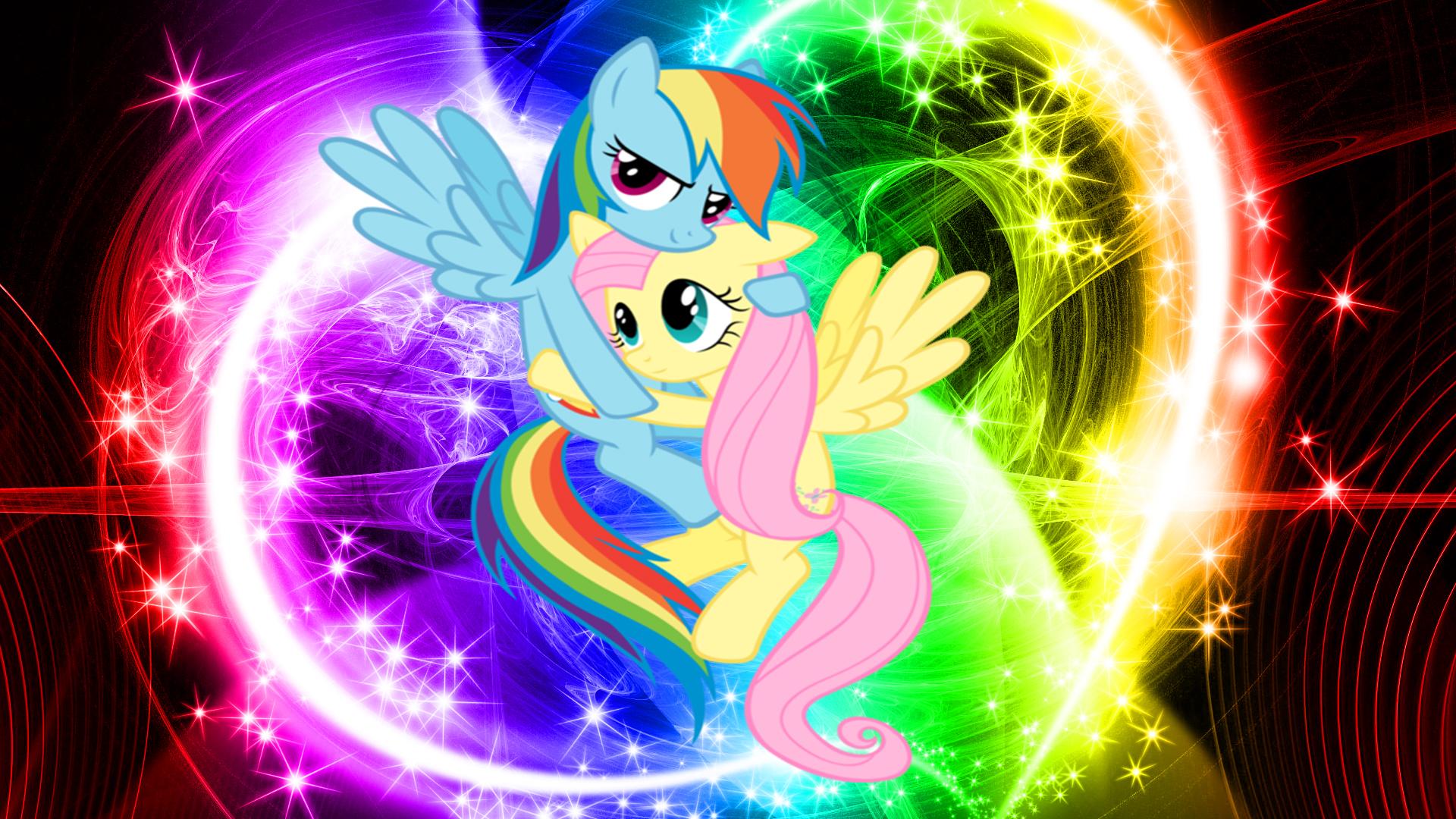 FluttershyXRainbow Dash (Wallpaper) by Hardii