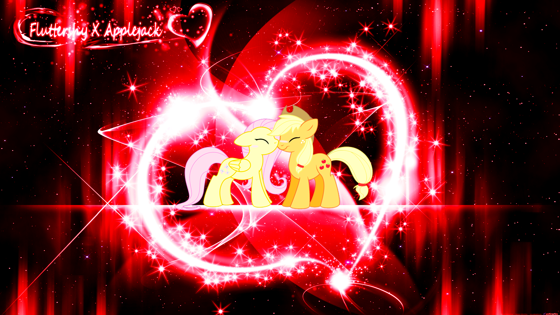 Fluttershy X Applejack (Wallpaper)(Request) by Hardii