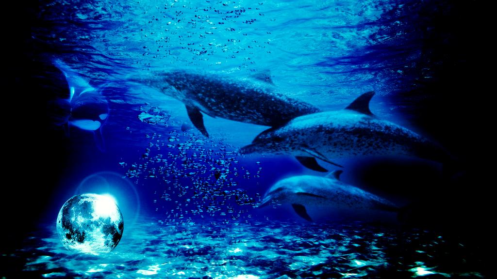 Sunken blue Moon in the Ocean (Wallaper Request) by Hardii
