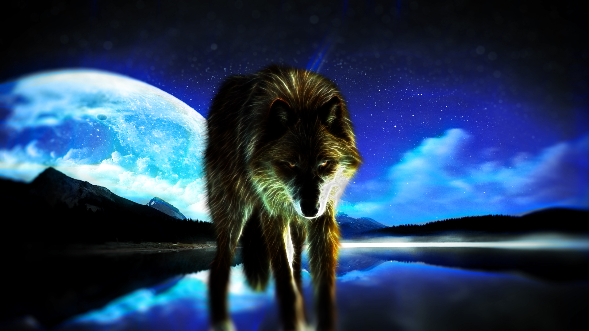 wolf with moon wallpaper by hardii on deviantart