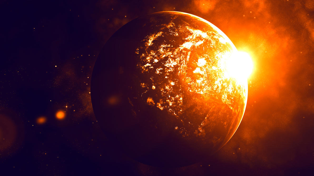 The Planet on Fire (Wallpaper) by Hardii