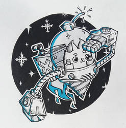 Inktober2018 // 02 NocoNeko Space Drone by GaddTheThief