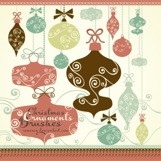 BEAUTIFUL XMAS ORNAMENTS PHOTOSHOP BRUSHES by Romenig