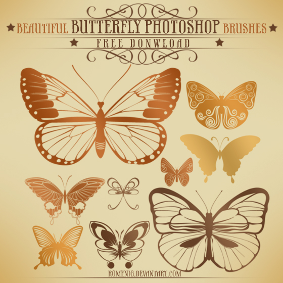 BEAUTIFUL BUTTERFLY FREE BRUSH SET by Romenig