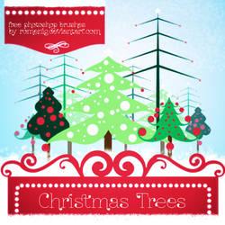 Free Christmas Trees Photoshop Brushes by Romenig