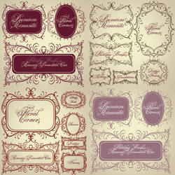 Vintage Floral Corners Premium  Brushes