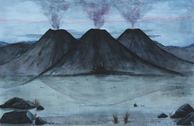 Three Peaks of Thangorodrim by darksidentic