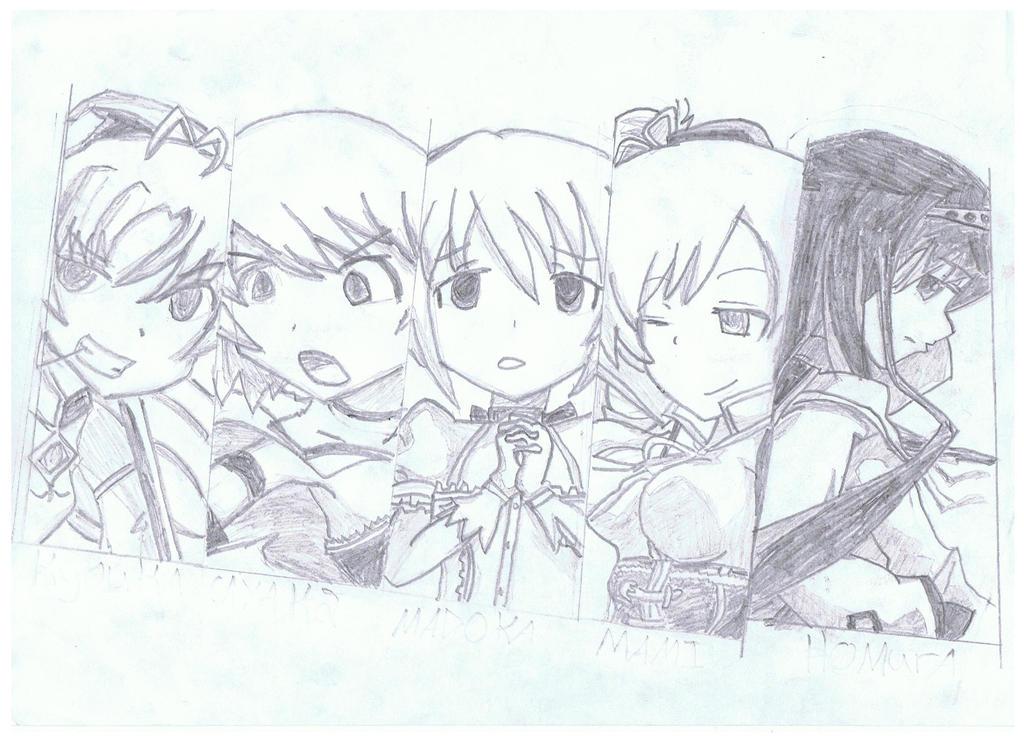 Puella Magi Madoka Magica Team Drawing By Mangartist122