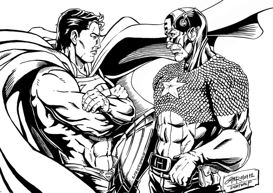 Superman vs Captain America by Lightwolf-of-GOD