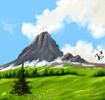 digital mountain scenery