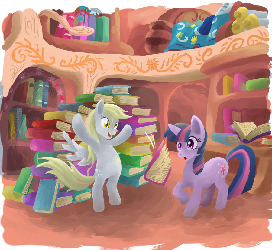 Derpy at Twilight's house by LeavingCrow