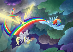 Derpy and Rainbow Dash