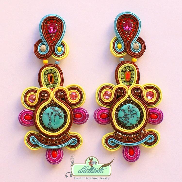 One of a kind Soutache Earrings by DILETTANTEsoutache