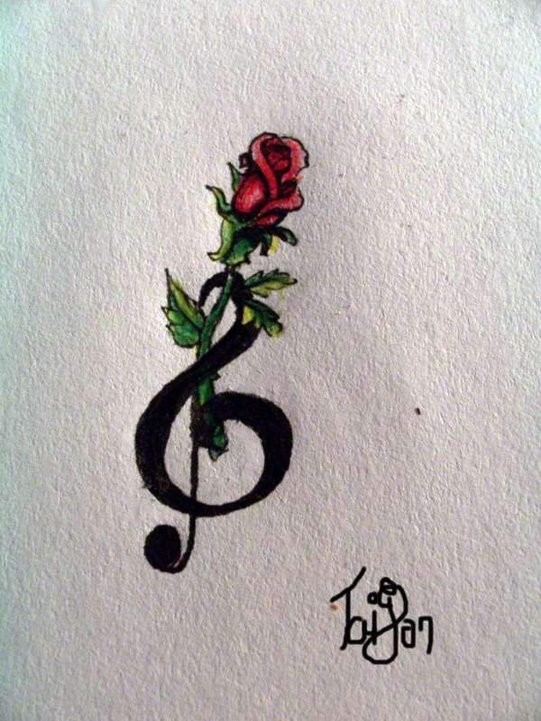 Rose and treble clef tattoo 2 by Nonnyarie