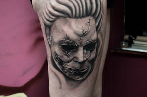 micheal myers mask tattoo by Rudeboytattoo