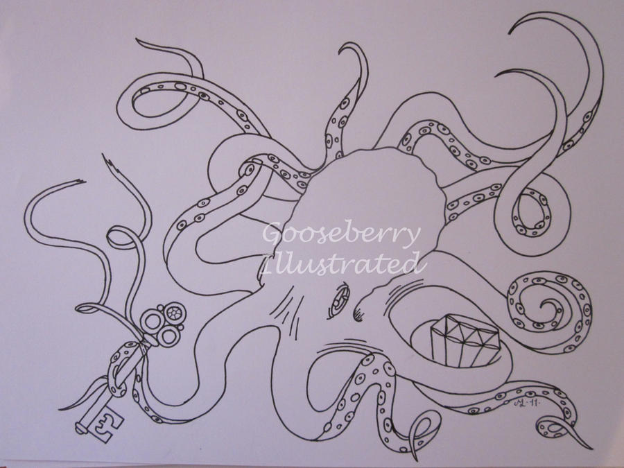 Line Art Octopus : Octopus linedrawing by missgooseberry on deviantart