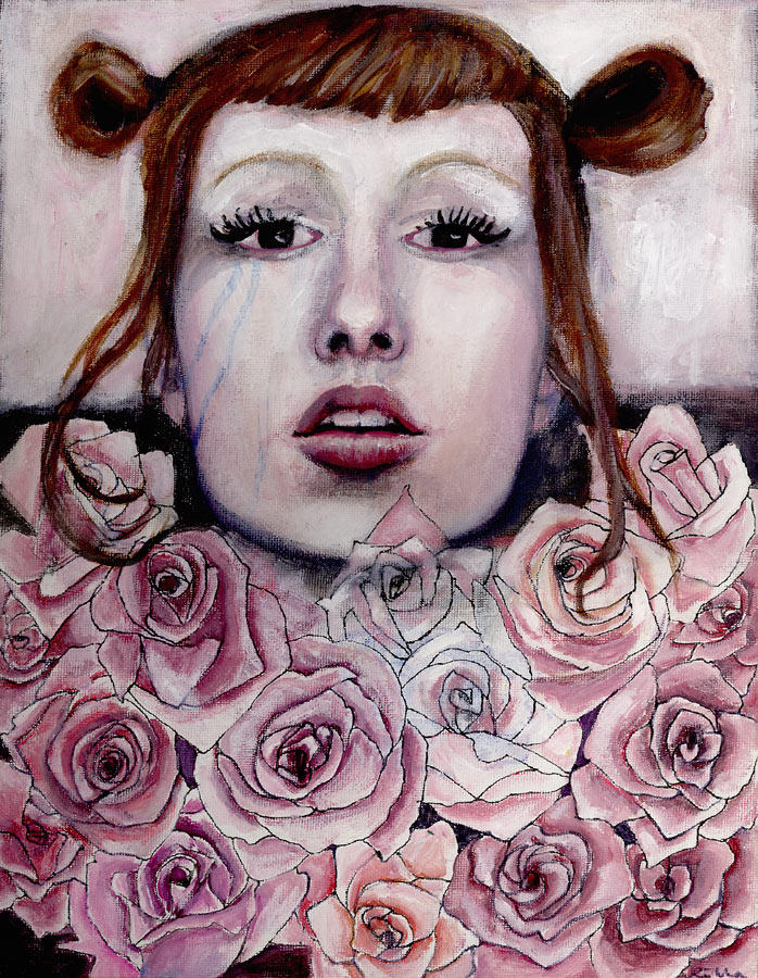 self portrait in roses by pixiefangs