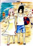 SasuSaku :Beach play: by BronwynLeBlanc