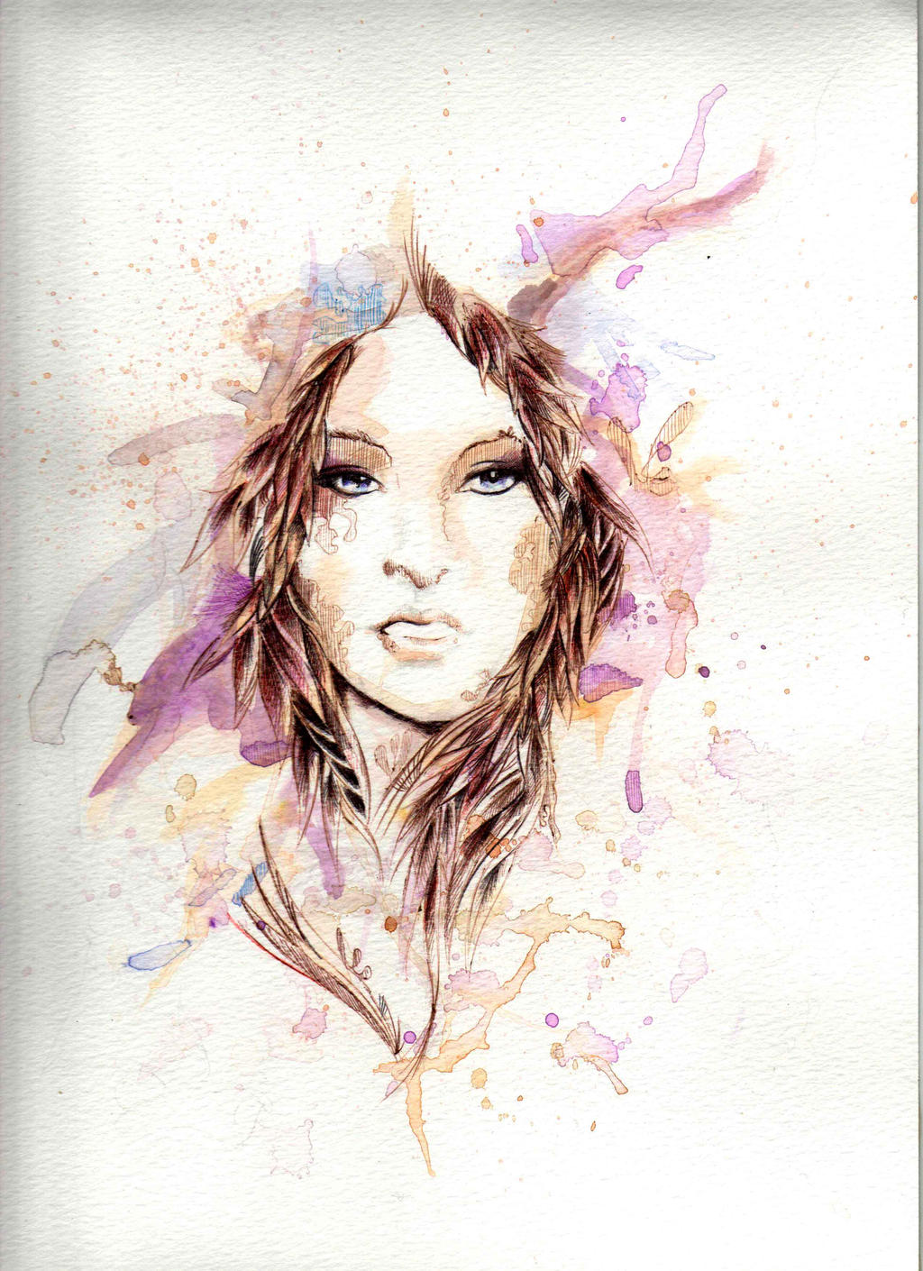 Watercolor + ballpoint ink pen. by Kartesh on DeviantArt