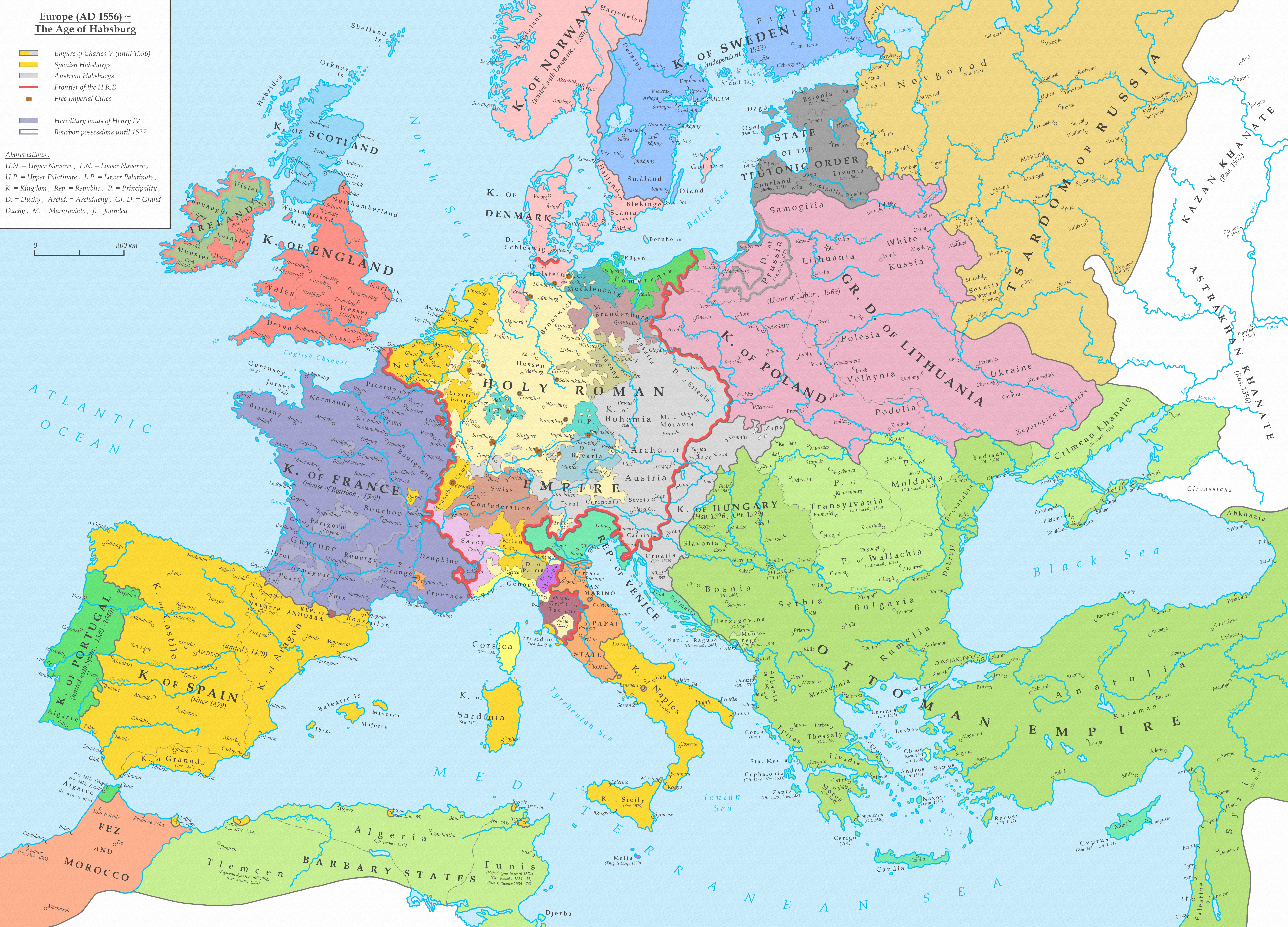 Map Of Europe 1560.Europe Ad 1556 The Age Of Habsburg European Maps Europe Map