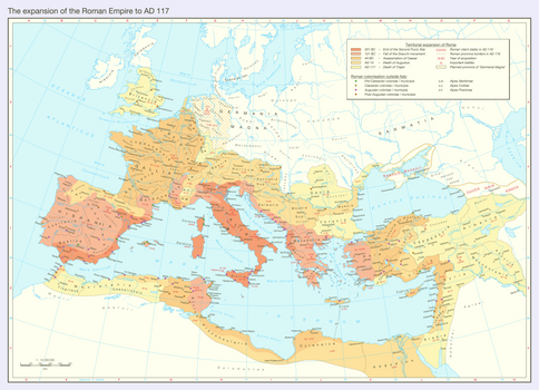 The expansion of the Roman Empire to AD 117