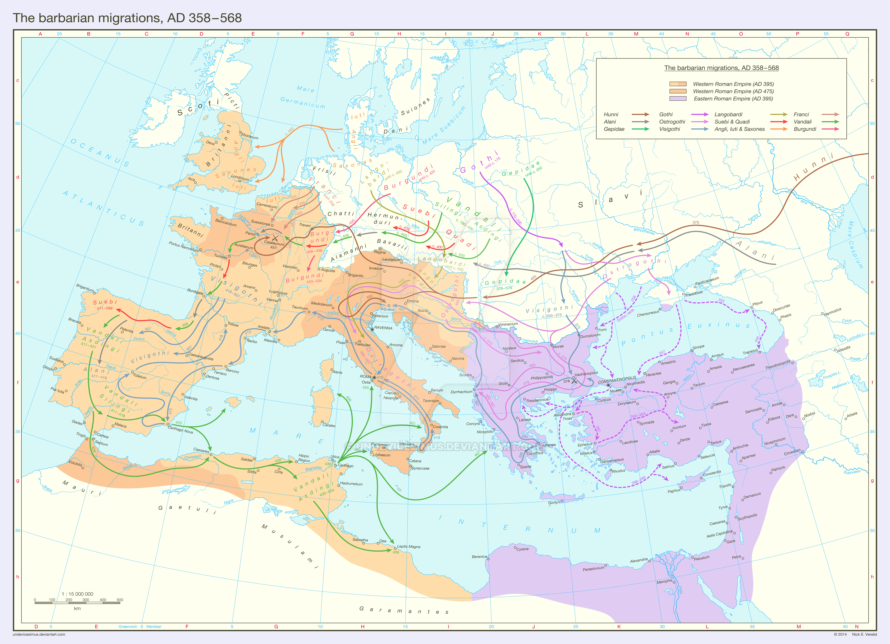 The barbarian migrations, AD 358 - 568 by Undevicesimus