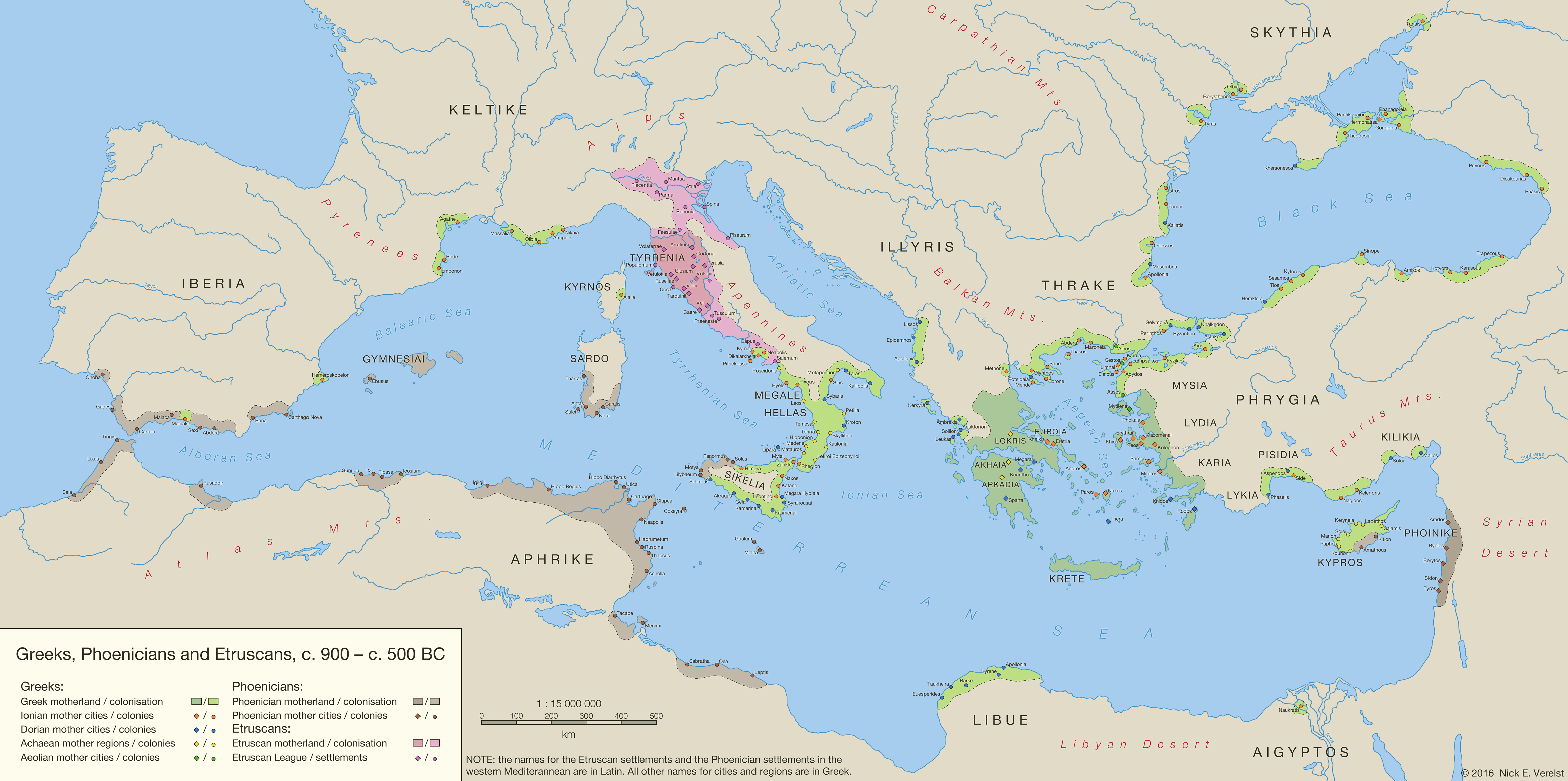 Greeks Phoenicians And Etruscans C BC By - Map of egypt 500 bc