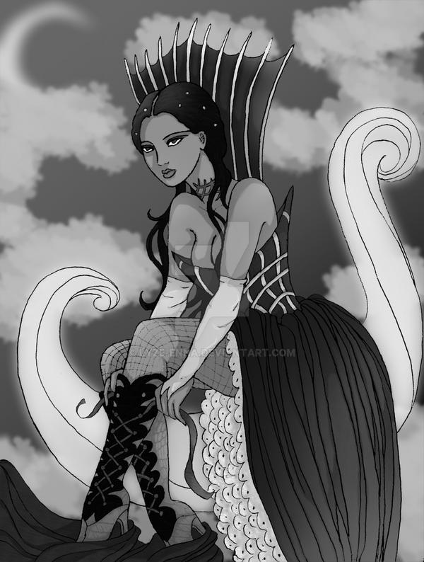 Selene, Black and White by Lyze-Enna