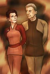 Odo and Kira by infiniteviking