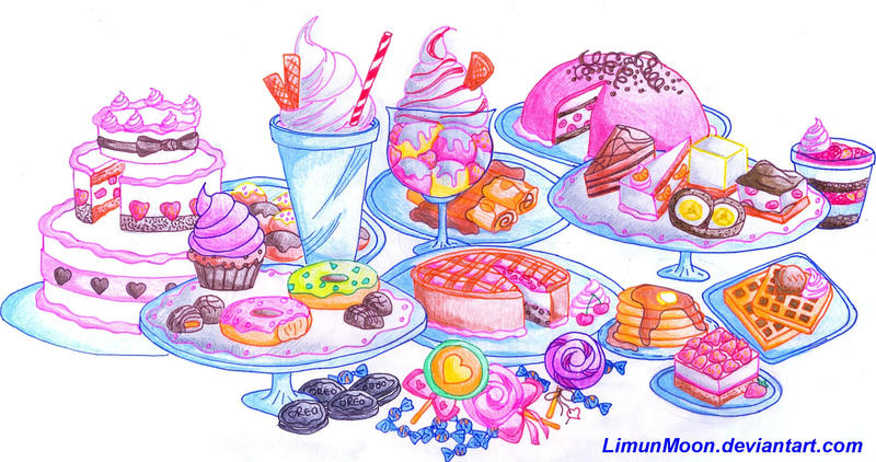 sweet dessert table by LimunMoon on DeviantArt