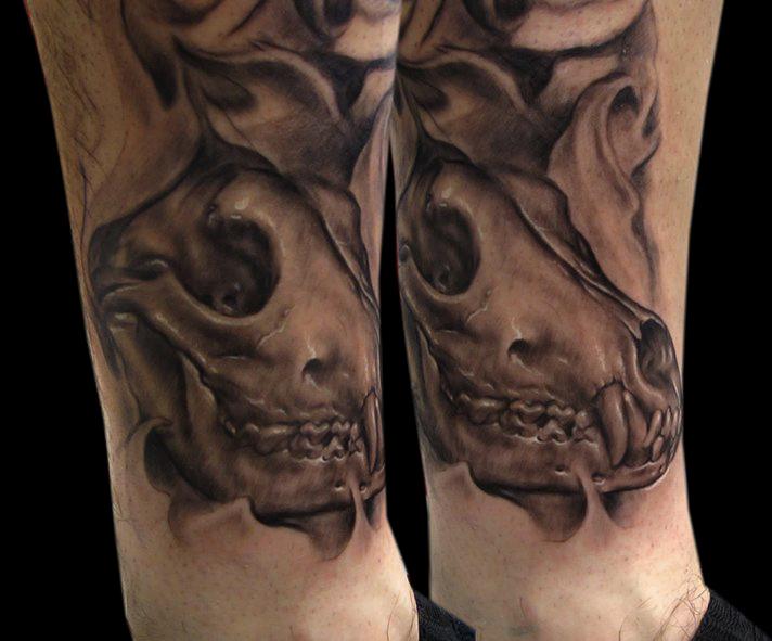 Wolf Skull Tattoo: Wolf Skull In Progress By Bhbettie On
