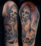 woman with skulls