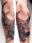 wolf with deer horns