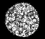 a circle of doodles