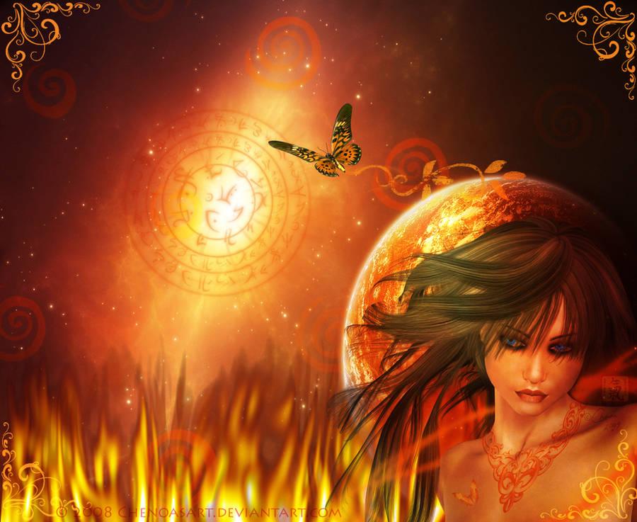 Fire Element Goddess by chenoasart