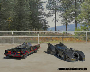 1966 and 1989 Batmobile by joeliveros