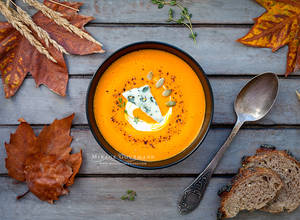 Hot pumpkin soup with blue cheese.