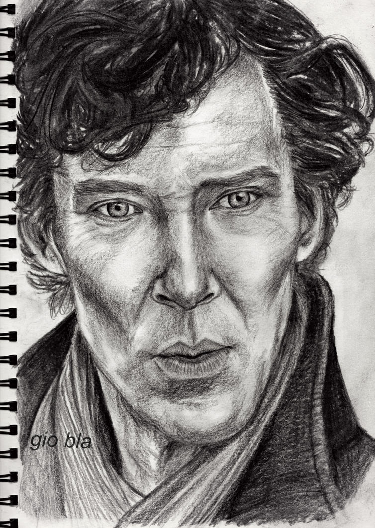 Benedict Cumberbatch as Sherlock Holmes - charcoal by GiobbyBla