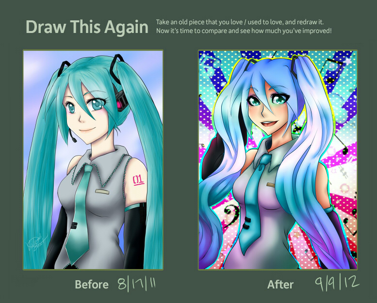 -:-Draw this Again Challenge: Miku -:- by VivlandiBasil