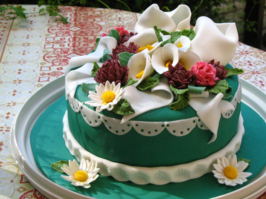 Cake With Fondant Flowers : Fondant Covered Flower Cake by theNUTmeg on DeviantArt