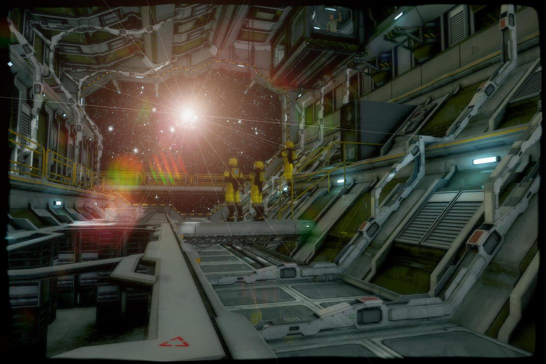 Sci-Fi Hangar Scene by lucia45