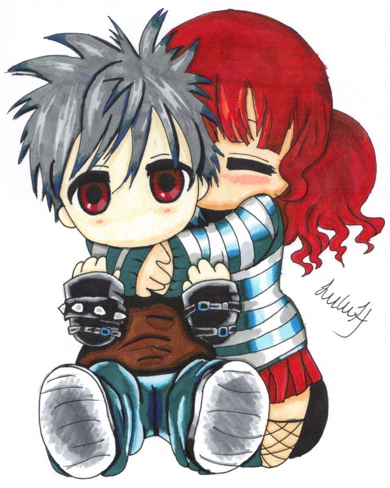 Chibis hugging - photo#28