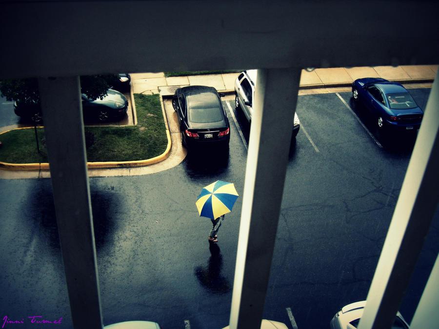 Yellow and Blue Umbrella by Blackmystik
