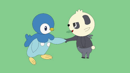 Piplup and Pancham Shaking Hands