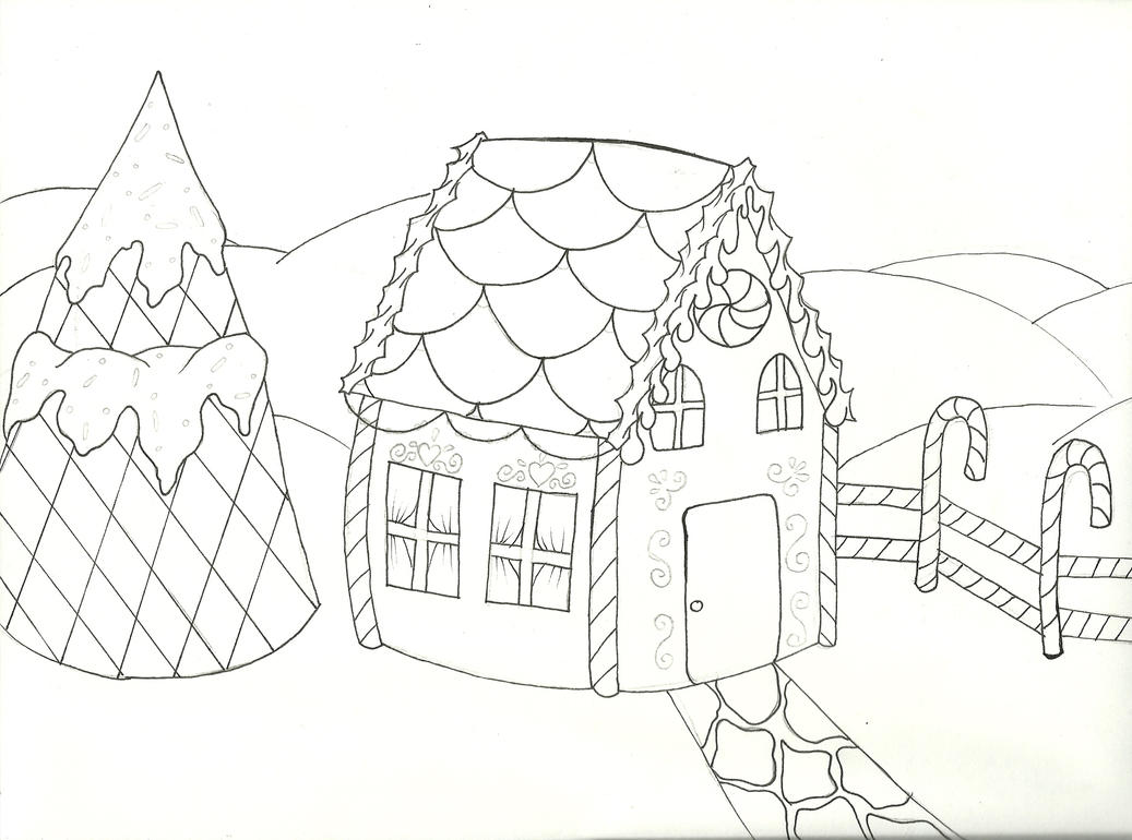 Gingerbread House LineArt By RobbinMarie