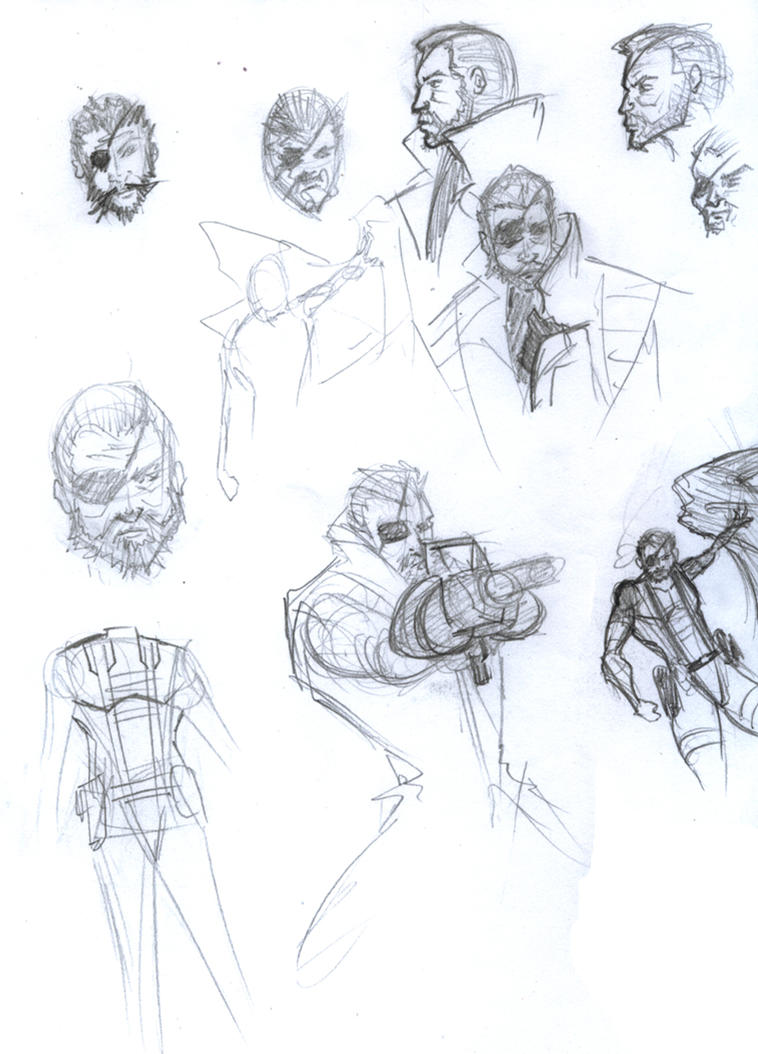 Big Boss sketches by Aarogoth