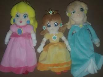 Peach, Daisy, and Rosalina Plushies by BrigadierDarman