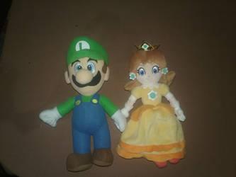 Luigi and Daisy Plushies by BrigadierDarman