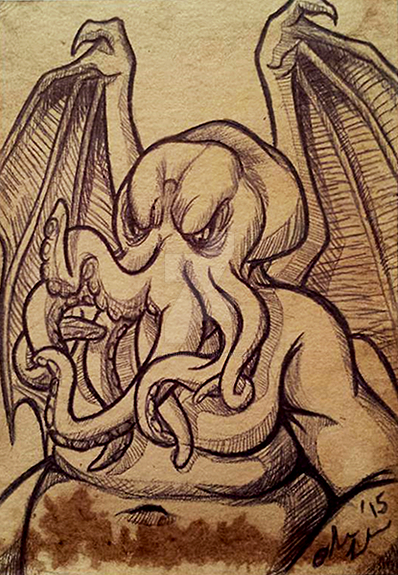 Tea Card - Cthulhu Sketch by OllyChimera